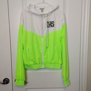 F21 Neon Yellow & White Color Block Hooded Jacket